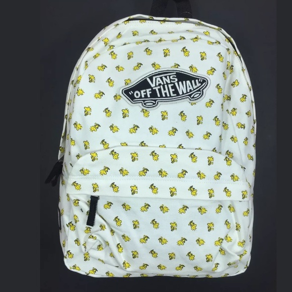 5681dc77c7a50f NEW Vans X Peanuts Woodstock Backpack White NWT